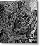 Black And White Rose Sketch Metal Print