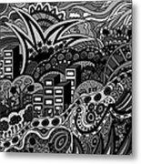 Black And White Seaside Metal Print