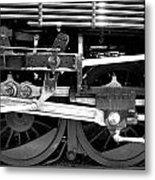 Black And White Steam Engine - Greeting Card Metal Print