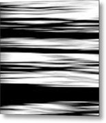 Black And White Striped Wave Pattern Metal Print