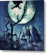 Black Bird Landing On A Branch In The Moonlight Metal Print