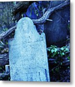 Black Bird Perched On Old Tombstone Metal Print