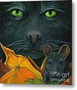 Black Cat And Mouse Metal Print by Linda Apple