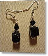 Black Cube Drop Earrings Metal Print