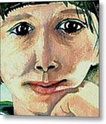 Black Eyed Young Girl Metal Print