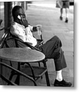 Black Man Relaxing On Sidewalks Of Asheville Metal Print