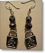 Black Pirate Earrings Metal Print by Jenna Green