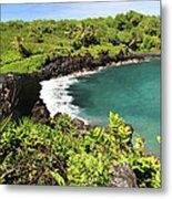 Black Sand Beach Maui Metal Print
