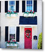 Black Window Shutters With Flowers Metal Print
