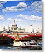 Blackfriars Bridge And St. Paul's Cathedral In London Metal Print