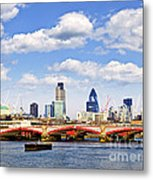 Blackfriars Bridge With London Skyline Metal Print