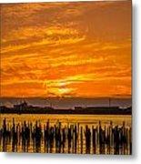 Blazing Humboldt Bay Sunset Metal Print
