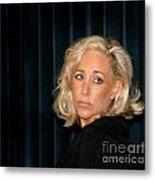 Blond Woman Sad Metal Print