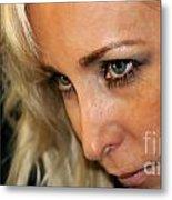 Blond Woman Strict Metal Print