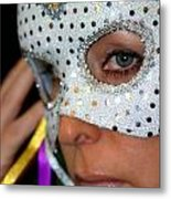Blond Woman With Mask Metal Print