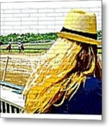Blonde At Racetrack Metal Print
