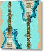 Blue Abstract Guitars Metal Print