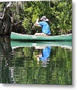 Blue Amongst The Greens - Canoeing On The St. Marks Metal Print
