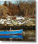 Blue And Red Boat Metal Print