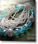 Blue And Silver Bead Bracelet Metal Print