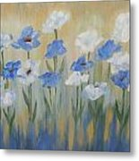 Blue And White Flora Metal Print