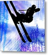 Blue And White Splashes With Ski Jump Metal Print