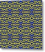 Blue And Yellow Chevron Pattern Metal Print