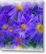 Blue Asters - Watercolor Metal Print