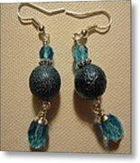 Blue Ball Sparkle Earrings Metal Print