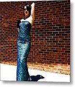 Blue Beaded Dress Metal Print