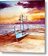 Blue Boat On The Shore Metal Print