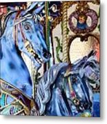 Blue Carousel Merry Go Round Horses Metal Print