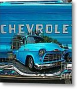 Blue Chevy Pickup Dbl. Exposure Metal Print