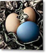 Blue Classy Easter Egg Metal Print