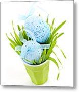 Blue Easter Eggs And Green Grass Metal Print