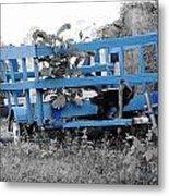 Blue Farm Wagon Metal Print