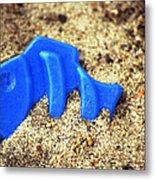 Blue Fish Swims In Sand Sea Metal Print