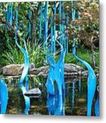 Blue Flamingos  Metal Print