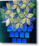 Blue Flower Pot Metal Print