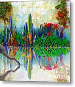 Blue Heron In My Mexican Garden Metal Print by John  Kolenberg