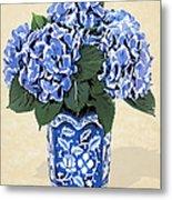 Blue Hydrangeas In A Pot On Parchment Paper Metal Print