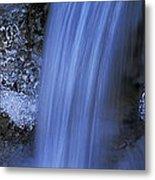 Blue Icy Waterfall Metal Print