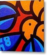 Blue Lobster And Oranges Metal Print