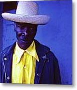 Blue Man With Yellow Hat And Shirt Metal Print