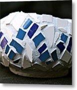 Blue Mosaic Bowl Metal Print by Ghazel Rashid