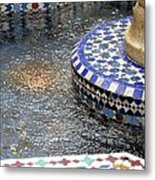 Blue Mosaic Fountain I Metal Print