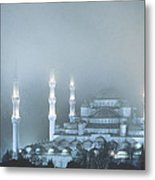 Blue Mosque In Blue Mist Metal Print