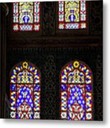 Blue Mosque Stained Glass Windows Metal Print