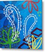 Blue Paisley Garden Metal Print