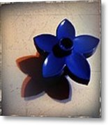 Blue Plastic Flower Metal Print